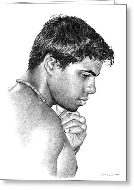 Pensive Drawings Greeting Cards - Moment with Marcus Greeting Card by Douglas Simonson