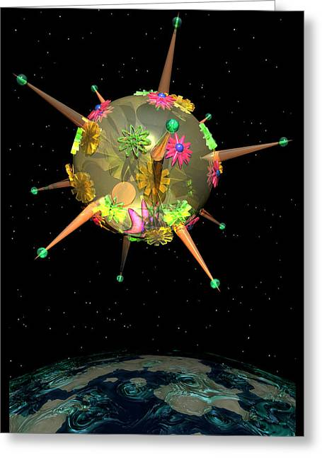 Pink Greeting Cards - Momentary Sputnik 11 Greeting Card by Ann Stretton