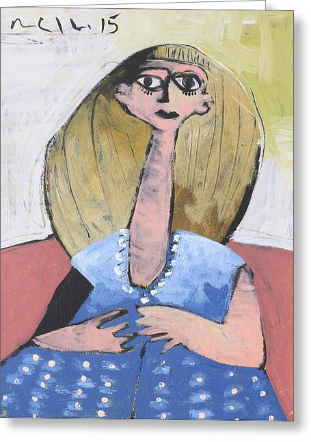 Outsider Art Mixed Media Greeting Cards - MOMENTIS Lucy in a Blue Dress  Greeting Card by Mark M  Mellon