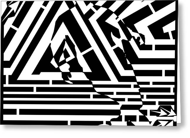 Distortion Drawings Greeting Cards - Moments Before the Goal Maze  Greeting Card by Yonatan Frimer Maze Artist