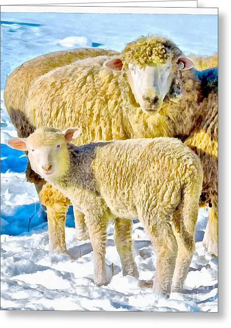 Sacrificial Greeting Cards - Momma and Baaaaby  Greeting Card by Helene Guertin