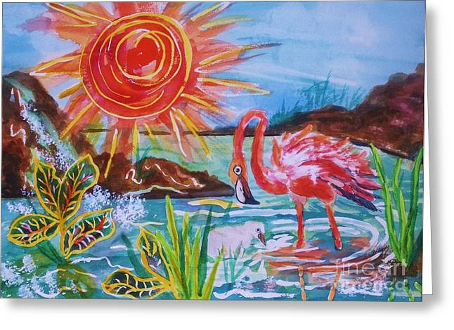 Wade Mixed Media Greeting Cards - Momma and Baby Flamingo Chillin In A Blue Lagoon  Greeting Card by Ellen Levinson