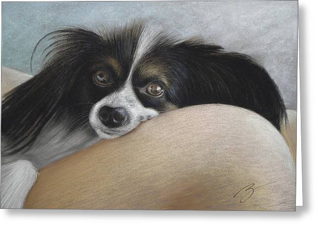Puppies Pastels Greeting Cards - Mommies Lap - Pastel Greeting Card by Ben Kotyuk