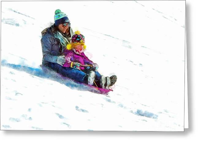 Action Ski Art Greeting Cards - Mommy and Me Greeting Card by Helene Guertin