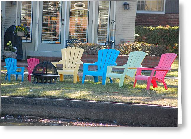Lawn Chair Greeting Cards - Mommy Daddy and Baby Chairs Greeting Card by Edwina Hughes