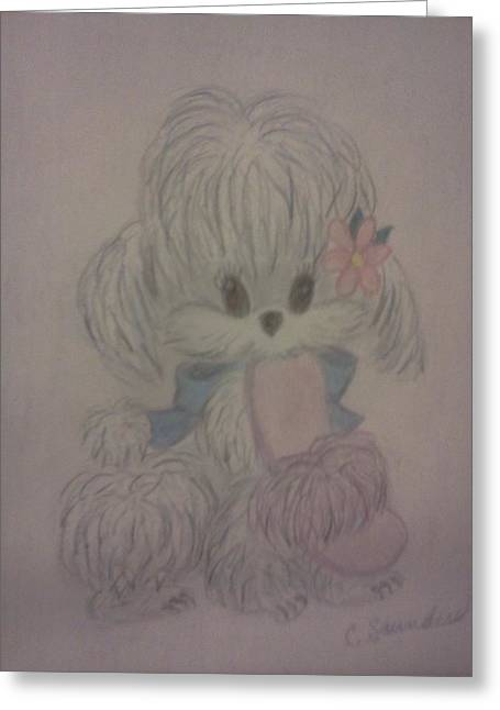 Puppies Drawings Greeting Cards - Mommys slipper Greeting Card by Christy Brammer
