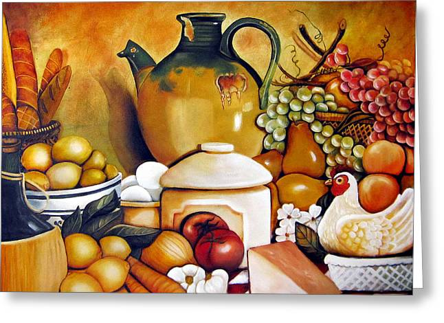 Jugs Greeting Cards - Moms Kitchen Greeting Card by Dalgis Edelson