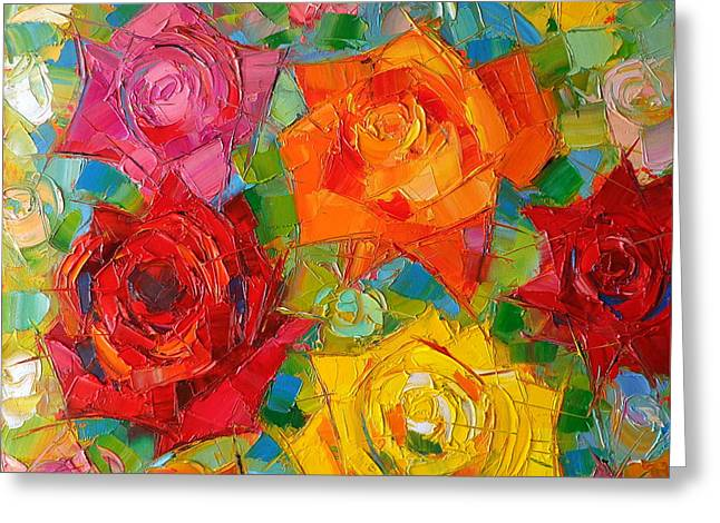 Emona Greeting Cards - Mon Amour La Rose Greeting Card by Mona Edulesco