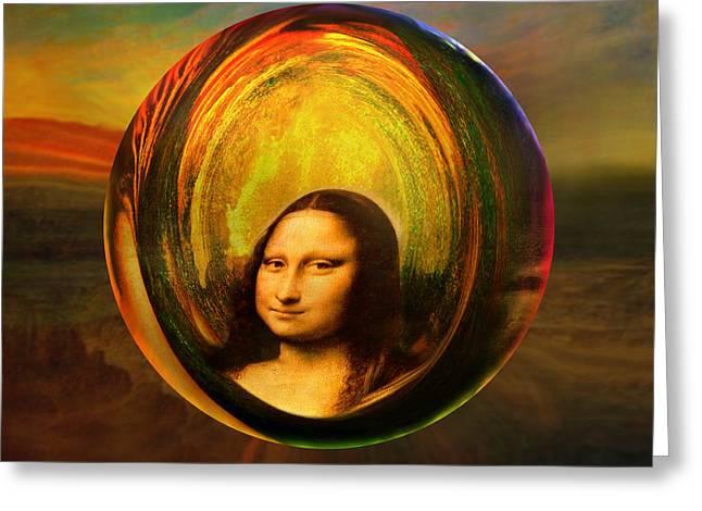 Mona Lisa Circondata Greeting Card by Robin Moline