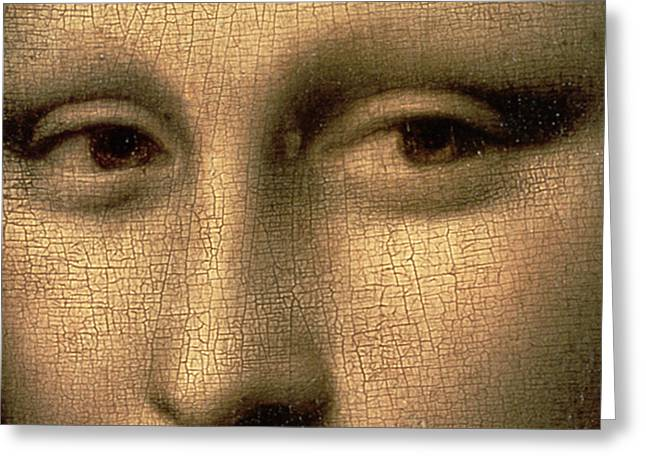 Close Up Paintings Greeting Cards - Mona Lisa    detail Greeting Card by Leonardo Da Vinci