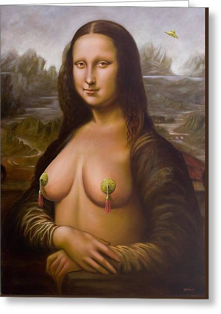 Knickers Greeting Cards - Mona Lisa II Greeting Card by John Silver