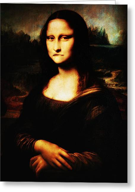 Frowning Greeting Cards - Mona Lisa Take One Greeting Card by Bill Cannon