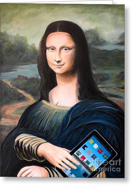 John Lyes Greeting Cards - Mona Lisa with ipad Greeting Card by John Lyes