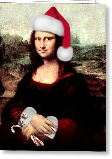 Christmas Art Greeting Cards - Mona Lisa With Santa Hat Greeting Card by Gravityx9  Designs