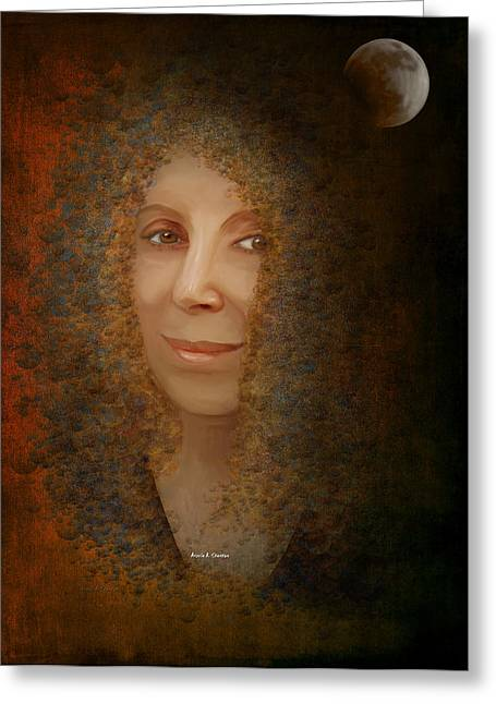 Solar Eclipse Paintings Greeting Cards - Mona Mia Greeting Card by Angela A Stanton