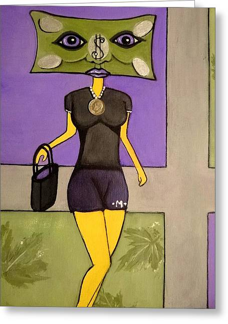 Clayton Mixed Media Greeting Cards - Mona Money Minded  Greeting Card by Carrie Clayton-Khep