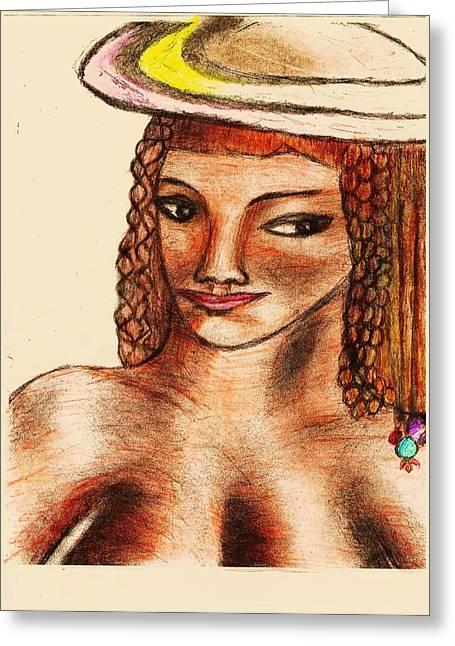 Mona Quisa Greeting Card by John Deeter
