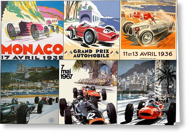 Old Automobile Greeting Cards - Monaco F1 Grand Prix Vintage poster collage Greeting Card by Nomad Art And  Design