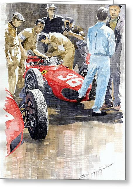 Watercolor Sports Art Paintings Greeting Cards - Monaco GP 1961 Ferrari 156 Sharknose Richie Ginther Greeting Card by Yuriy Shevchuk