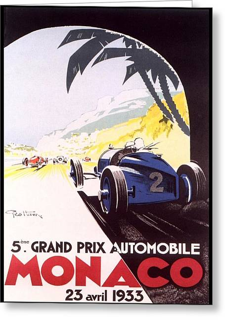 Rally Greeting Cards - Monaco Grand Prix 1933 Greeting Card by Nomad Art And  Design