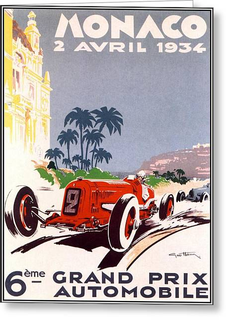 Rally Greeting Cards - Monaco Grand Prix 1934 Greeting Card by Nomad Art And  Design