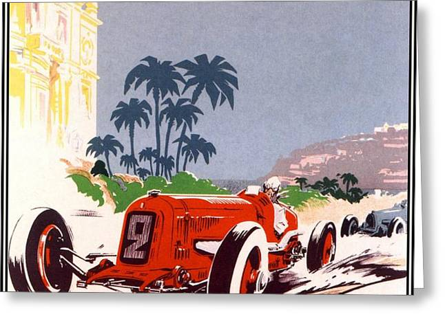 Monaco Grand Prix 1934 Greeting Card by Nomad Art And  Design