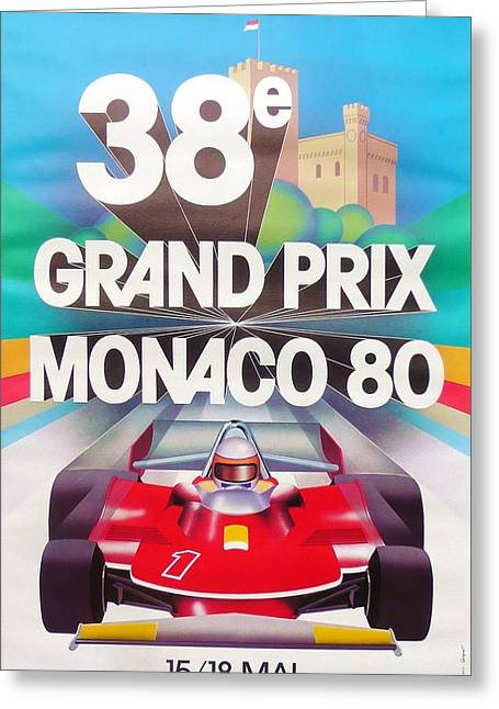 1980 Digital Greeting Cards - Monaco Grand Prix 1980 Greeting Card by Nomad Art And  Design