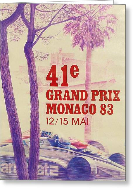 80s Greeting Cards - Monaco Grand Prix 1983 Greeting Card by Nomad Art And  Design