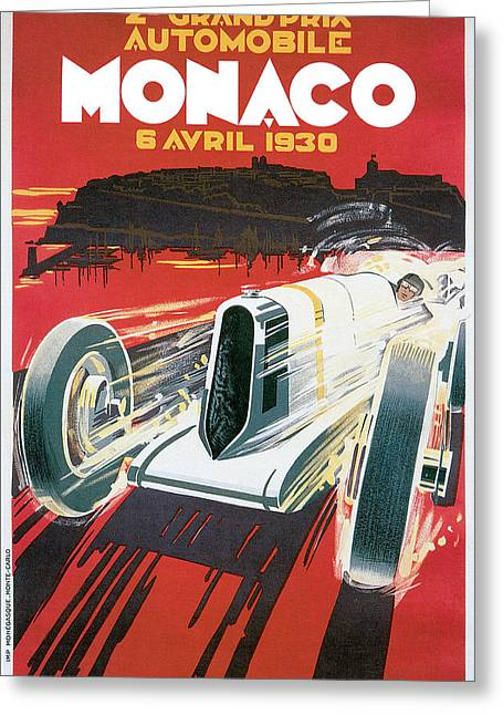 Driving Drawings Greeting Cards - Monaco Grand Prix Vintage Poster Greeting Card by World Art Prints And Designs