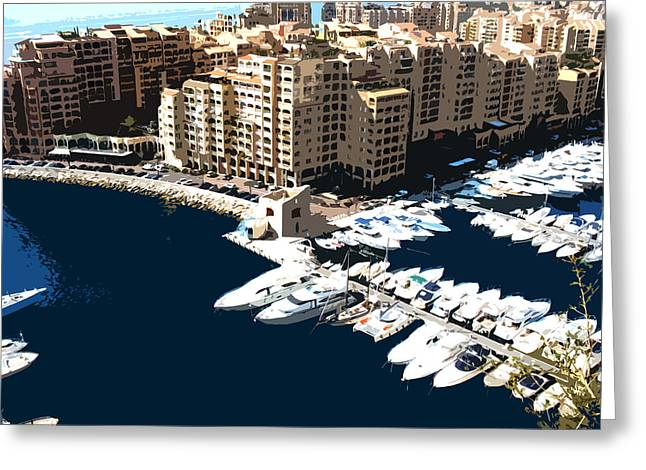 Yachting Mixed Media Greeting Cards - Monaco Greeting Card by Krasimira Nevenova