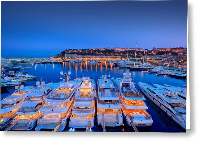 Photographs Digital Greeting Cards - Monaco Lights at Night Greeting Card by Gianfranco Weiss