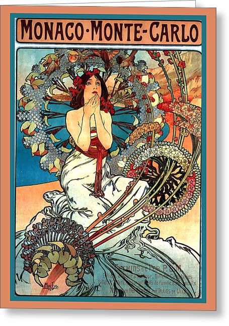 Vineyard Poster Greeting Cards - Monaco Monte Carlo Greeting Card by Alphonse Maria Mucha