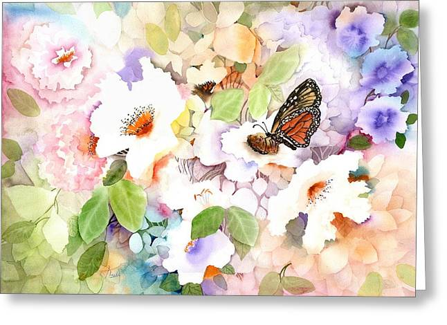 Fluttering Paintings Greeting Cards - Monarch at my Garden Greeting Card by Neela Pushparaj