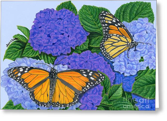 Sarah Greeting Cards - Monarch Butterflies And Hydrangeas Greeting Card by Sarah Batalka
