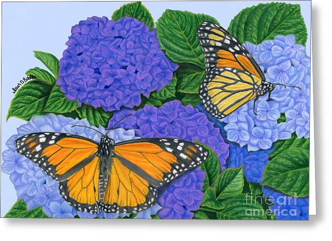 Butterflies Drawings Greeting Cards - Monarch Butterflies And Hydrangeas Greeting Card by Sarah Batalka