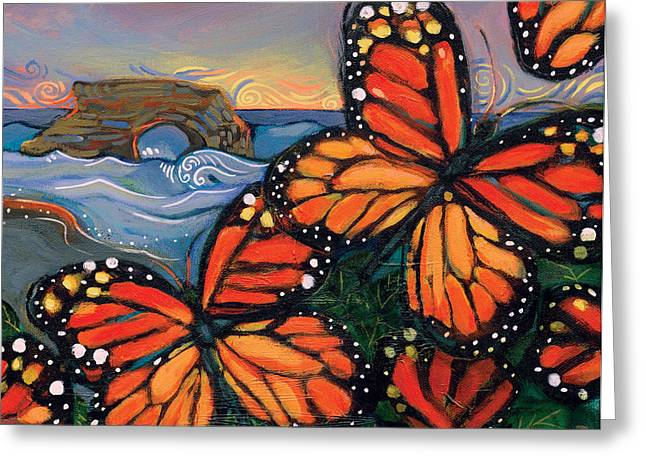 Landmark And Bridges Greeting Cards - Monarch Butterflies at Natural Bridges Greeting Card by Jen Norton