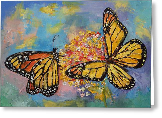 Monarch Greeting Cards - Monarch Butterflies Greeting Card by Michael Creese