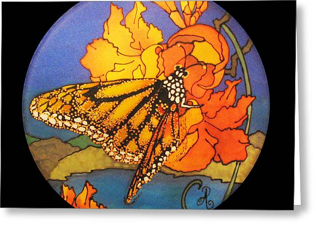 Butterfly Tapestries - Textiles Greeting Cards - Monarch Butterfly Greeting Card by Annelle Woggon