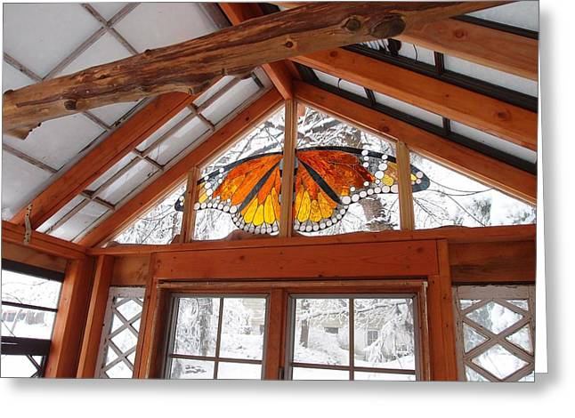 Snow Glass Greeting Cards - Monarch Butterfly Greeting Card by Neile Cooper