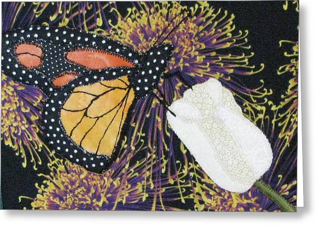 Art Quilt Tapestries Textiles Greeting Cards - Monarch Butterfly on White Tulip Greeting Card by Lynda K Boardman