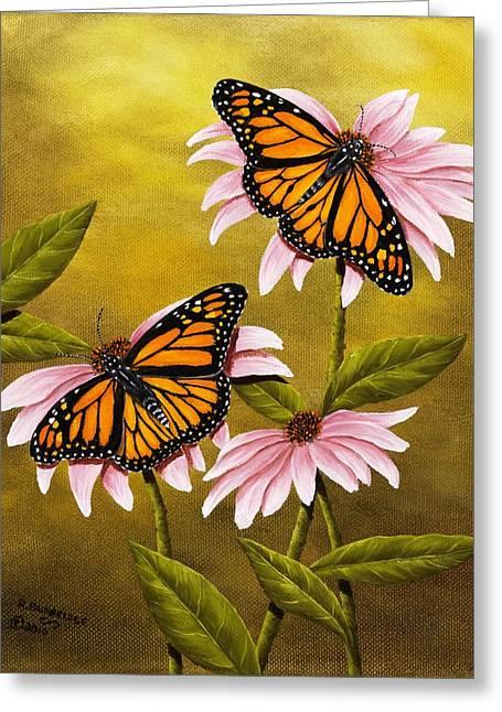 Monarchs And Coneflower Greeting Card by Rick Bainbridge