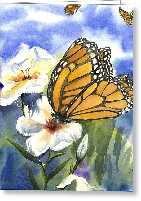 White Paintings Greeting Cards - Monarchs in the Gardens Greeting Card by Maria Hunt
