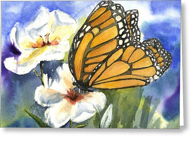 Adult And Child Greeting Cards - Monarchs in the Gardens Greeting Card by Maria Hunt