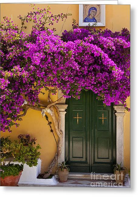 Flowering Vines Greeting Cards - Monastery Door Greeting Card by Brian Jannsen