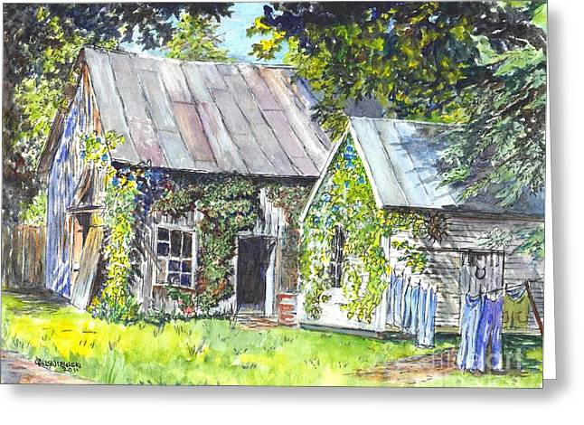 Outbuildings Drawings Greeting Cards - Monday Monday Not Just Any Day Greeting Card by Carol Wisniewski