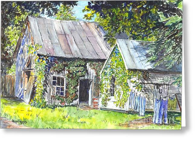 Shed Drawings Greeting Cards - Monday Monday Not Just Any Day Greeting Card by Carol Wisniewski