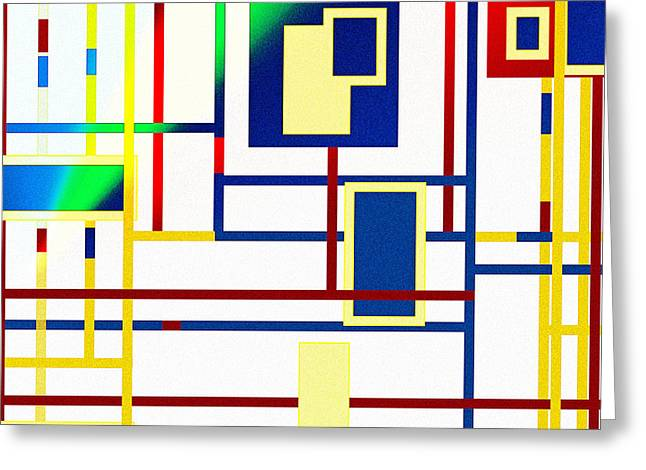 Web Gallery Greeting Cards - Mondrian Color Teraphy Greeting Card by Adam Asar