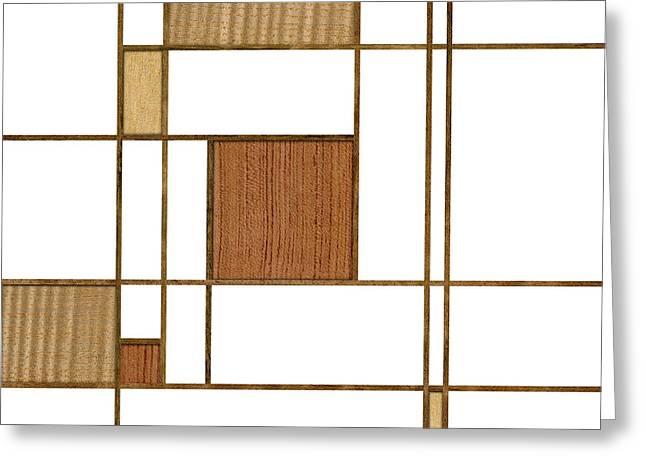 Geometric Style Greeting Cards - Mondrian in Wood Greeting Card by Yo Pedro