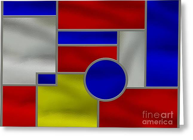 Stainless Steel Digital Art Greeting Cards - Mondrian Influenced Stained Glass Panel No1 Greeting Card by Michael C Geraghty