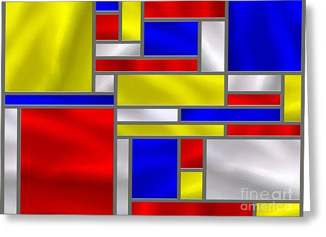 Best Sellers -  - Stainless Steel Greeting Cards - Mondrian Influenced Stained Glass panel No10 Greeting Card by Michael C Geraghty